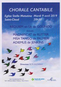 Mardi 9 avril 2019 Eglise Stella Matutina concert à 20h30